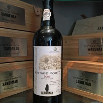 Sandeman Vintage 2003 bottle and boxes